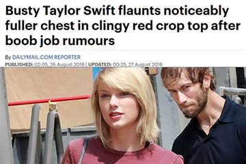 news busty taylor swift flaunts noticeably fuller chest in clingy red crop top after boob job rumours the private clinic