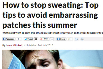 news how to stop sweating top tips to avoid embarrassing patches this summer the private clinic