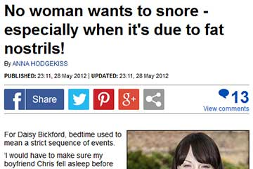 news snoring consequence and treatments discussed in the daily mail the private clinic