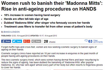 news women rush to banish their madonna mitts with the perfect anti ageing procedure for hands the private clinic