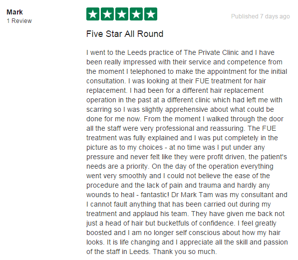 Find more reviews of our Hair Transplant treatments on Trustpilot.
