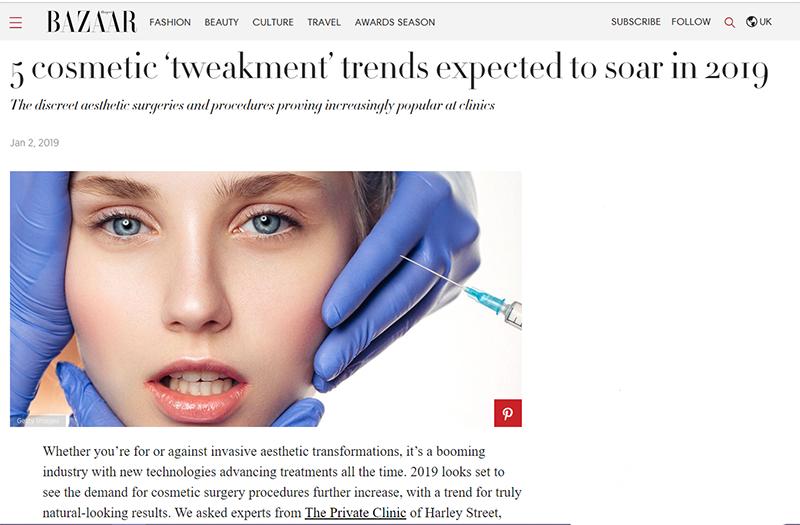Harpers Bazaar cosmetic trends 2019 temporal facelift